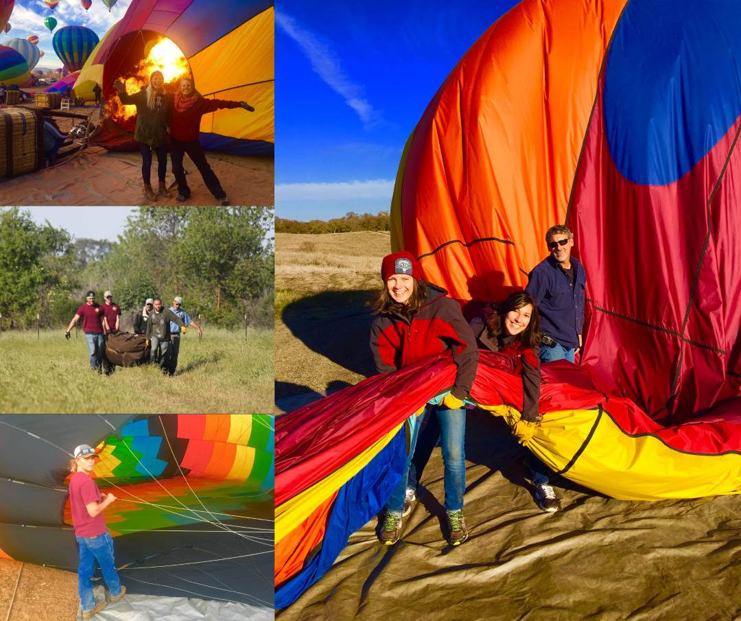 Collage of hot air balloon crew members carrying, snaking and holding open the hot air balloon.